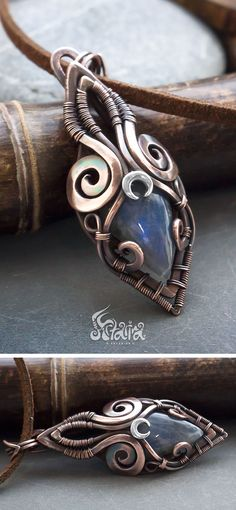 Small mixed metals pendant with blue labradorite #wirejewelry