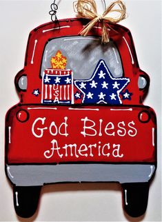 Americana Vintage Style Red Truck of July Sign Wall Art Door Hanger Plaque Home Decor tokomillcrafty Country Wood Crafts, Wooden Crafts, Truck Signs, 4th Of July Decorations, Lawn Decorations, Christmas Decorations, July Crafts, Patriotic Crafts, Summer Crafts