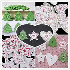 Kisstaker 50pcs Mix Christmas Decoration Tree Snowflake Wooden Buttons Sewing Scrapbook DIY Craft * Find out more about the great item at the image link.