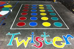 Bright games painted on a cement or asphalt surface are a welcome addition to any playground! Use the suggested patterns attached here, or think back to your own childhood to come up with possible games! Note: Your site will obviously have to have a bare cement or asphalt surface on which you can paint, and where children can play safely.