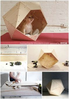 Brilliant DIY Dog Houses With Free Plans For Your Furry Companion Modern Geometrics - 15 Brilliant DIY Dog Houses With Free Plans For Your Furry Companion Modern Dog Houses, Cool Dog Houses, Cat Houses, Pet Beds, Dog Bed, Diy Dog Kennel, Dog Kennels, Dog House Plans, Dog Furniture