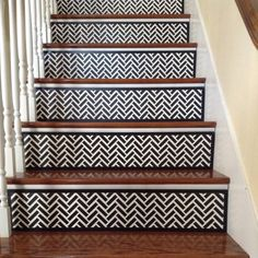 Black & White Decor / Black Home Decor / Chevron / Alternative to Vinyl Decals, Stair Stickers and Stair Riser Decals / Modern / Item 002 White Stair Risers, White Staircase, Staircase Ideas, Black Painted Stairs, Chevron Home Decor, Estilo Colonial, Black And White Tiles, Black White, Black Decor