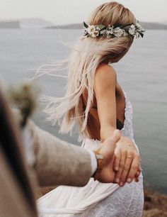 bohemian bride wearing flower crown and lace wedding dress with spaghetti straps bohemisk brud som b Wedding Goals, Wedding Couples, Trendy Wedding, Wedding Pictures, Boho Wedding, Perfect Wedding, Wedding Day, Wedding Beach, Wedding Crowns