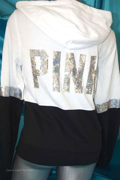 S,M,L~VICTORIA SECRET PINK SEQUIN BLING HOODIE PERFECT FULL ZIP BLACK WHITE~NWT #VictoriasSecretPINK #BlingHoodieSweatShirtTopEMBELLISHED