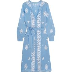 Melissa Odabash Fleur embroidered voile kaftan (494 065 LBP) ❤ liked on Polyvore featuring tops, tunics, dresses, kaftan, blue slip, loose tunic, caftan top, blue tunic and kaftan tunic