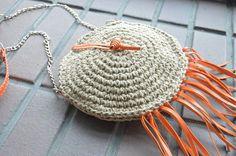 Round crochet summer bag, natural materials, shoulder bag ...