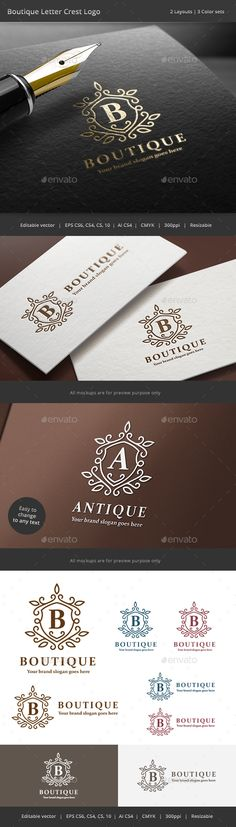 Boutique Letter Crest Logo Template Vector EPS, AI #logotype Download…