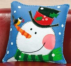 Shop for Pine Cone Snowman Pillow Felt Applique Get free delivery On EVERYTHING* Overstock - Your Online Sewing & Needlework Shop! Christmas Sewing, Noel Christmas, Christmas Pillow, All Things Christmas, Christmas Ornaments, Xmas, Christmas Cushions To Make, Applique Pillows, Felt Applique