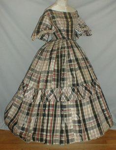 Enchanting 1860's Antique Plaid Silk Ballgown Dress