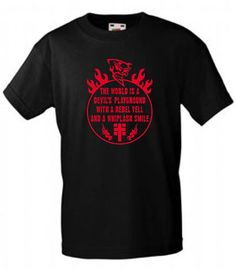 INDIVIDUELLES + COOLES THE WORLD IS A DEVILS PLAYGROUND PUNK-ROCK-BIKER T-SHIRT!