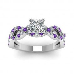 Jeulia Princess Cut Created White Sapphire with Amethyst Sidestone Engagement Ring