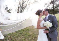 Our bride Katie featured on @borrowednblue wearing @augustajones! #lace #straplessgown