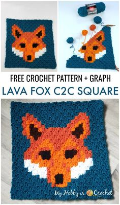"My Hobby Is Crochet: Free Crochet Pattern: ""Lava Fox"" Square - Wildlife Graphghan CAL Block 1 Crochet C2c Pattern, Crochet Gratis, Crochet Fox, Crochet World, Crochet For Boys, Crochet Squares, Free Crochet, Granny Squares, Free Pattern"