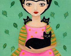 Frida and Friends  Original Dog and CAT Folk Art Painting