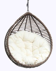 Papasan Chair: The Uniqueness of Seating Unit : Comfy Papasan Chair Set As Hanging Chair Idea Created In Dark Wooden Color And Bright White Cushion Idea