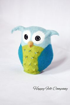 """felted Owl Lamp vilten feutre gefilzt filzen Tischlampe Eule """" UHUra"""" von Happy Felt Company auf DaWanda.com"""