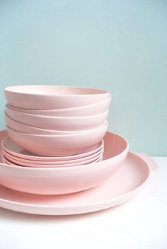 pink dishes! Great for tea socials  more! #home #kitchen
