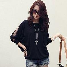 Hitz Womens Fashion Casual Plus Size Loose O- Neck Long-Sleeved T-shirt Fat MM Bat Sleeve T-shirt Women Kawaii Office