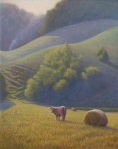 Egg tempera painting of cow and haybale in a pasture by Daniel Ambrose