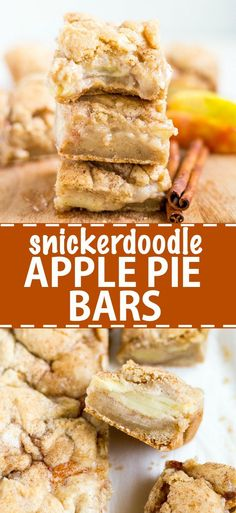 Sweet and gooey snickerdoodle apple pie bars are the perfect fall dessert. The base layer is a snickerdoodle bar topped with cinnamon-spice apple pie filling and topped with more snickerdoodle. It's delicious served warm with ice cream! Dessert Simple, Quick Dessert, Dessert Healthy, Apple Recipes, Baking Recipes, Snack Recipes, Dessert Party, Pie Dessert, Fall Dessert Recipes