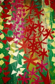 Red Meadowlands. Contemporary Quilt.