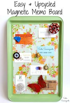 Don't toss your old, rusty cookie sheet! Repurpose it into a snazzy new magnetic memo board or kitchen memo board for your home office, kitchen, or wherever you need to store notes, recipes, cards, and reminders! It's a super easy upcycling idea that can be personalized however you like. Get the full DIY project tutorial from Sadie Seasongoods at www.sadieseasongoods.com. #memoboard #upcycling #organizer #organization #reminderboard #cookiesheet #spraypaint