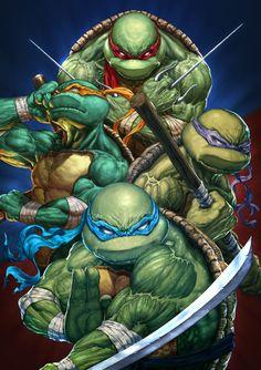 youngjusticer:     One, two, three, four. Teenage Mutant Ninja Turtles, by Michele Frigo.