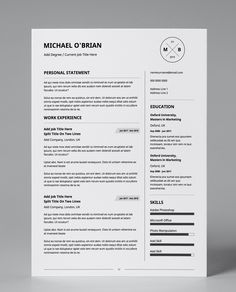Get this editable predesigned, minimalist, professional resume design template. Minimalist, black and white design in double page PDF format!