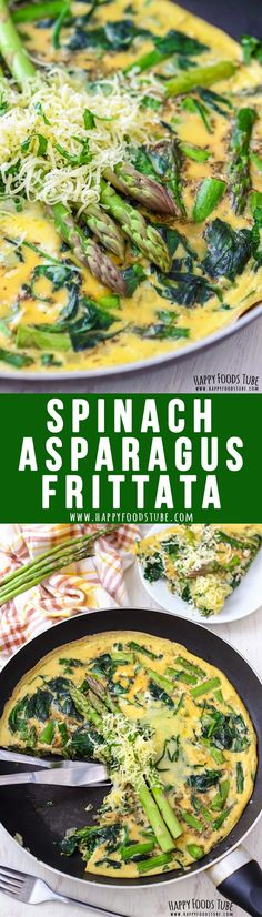 This easy to make Spinach and Asparagus Frittata is light and fluffy and only takes 30 minutes to make. asparagus recipe Spinach and Asparagus Frittata - Happy Foods Tube Best Breakfast Recipes, Vegetarian Breakfast, Brunch Recipes, Vegetarian Recipes, Healthy Recipes, Breakfast Ideas, Breakfast Spinach, Breakfast Frittata, Morning Breakfast