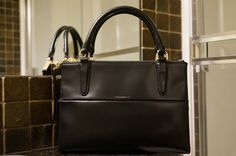 Coach mini borough in black marobox leather, gold hardware