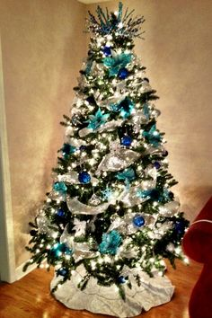 Christmas tree. Silver and blue