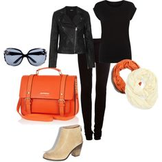 Black and orange outfit