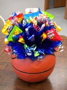 Sports Bouquets - Candy Gifts and Crafts, Candy Bouquets, Centerpieces, Handmade Crafts, Hand Painted Glassware/Bucket - ecomPlanet Web Hosting - the Free hosting solution worldwide Basketball Party, Basketball Birthday, Basketball Gifts, Boy Birthday, Birthday Parties, Basketball Skills, Basketball Cupcakes, Basketball Quotes, Soccer Ball