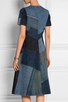 @roressclothes closet ideas #women fashion outfit #clothing style apparel Patchwork Denim Dress