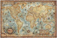 Modern World Antique Map - Fototapeter & Tapeter - Photowall