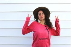 Love Revolution - Eco-friendly flowy slouchy off the shoulder sweater in Eco Fushia size L. $40.00, via Etsy.