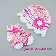 Crochet Pattern for baby hat and sock booties, by pattern-paradise.com. Pattern has other coordinated pieces.