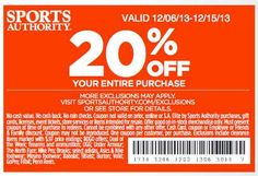 Sports Authority Printable Coupons for 20% off your entire purchase!