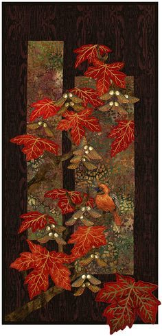 'Clothed in Crimson' - hand & machine applique, thread painted bird, and 3-D maple seed pods made from hand painted 400lb watercolor paper