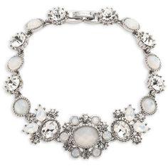 Marchesa Crystal Stone Flex Bracelet (1.610 CZK) ❤ liked on Polyvore featuring jewelry, bracelets, rhodium, crystal jewellery, marchesa jewelry, crystal stone jewelry, crystal jewelry and marchesa