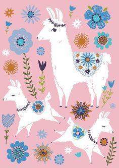 Children's Spaces | Patterns for Babies | Art Print | Illustration | Poster | Decoração Infantil | Padronagem para Bebês | Ilustração para ImpressãoTara Lily ansichtkaart lama family pink