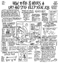 "How to kill 8 hours a day and still keep your job. Click to see 13 Of The Best ""Life In Hell"" Comics by Matt Groening"