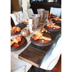 Fall Dining Room Table ❤ liked on Polyvore featuring backgrounds