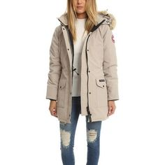 Cream canadian goose coat, canadian parka, canada goose ski jacket, parka c Canada Goose Women, Canada Goose Parka, Canada Goose Winter Jacket, Canadian Goose Coat, Pink Parka, Parka Outfit, Discount Womens Clothing, Woman Outfits