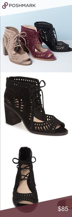 "Vince Camuto Lace-Up Sandal (Nordstrom Exclusive!) Black 'Tarita' Cutout Lace-Up Sandal by Vince Camuto Details & Care: Eye-catching geometric cutouts call attention to a street-savvy, open-toe lace-up sandal shaped from lustrous suede and set on a chunky stacked heel. - 3"" heel (size 9). - 3 1/4"" shaft. - Lace-up style. - Suede upper/leather lining/synthetic sole. - Imported. Vince Camuto Shoes Ankle Boots & Booties"