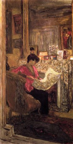jean-édouard vuillard(1868–1940), lucy hessel reading the newspaper, rue de naples, 1917. distemper on paper mounted on canvas, 106 x 55 cm. kunstmuseum bern, switzerland http://www.the-athenaeum.org/art/detail.php?ID=54925