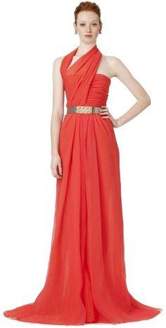 Oscar De La Renta Halter Draped Gown in Red (carnation)
