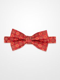 Lord West Red, Green & Gold Geometric Bow Tie #menswear #mens #dapper #fashion #formalwear #tuxedo #wedding #prom #party #suit #suitandtie #plaid #check #dot #polkadot