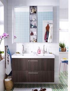 IKEA has been providing optimum solutions for compact nature of modern interiors. These bathroom offers storage solutions, space maximization, laundry washing combined at one place.
