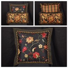 A trio of beautiful decorator throw pillows that we just completed for a customer.  Fabrics and trims can be found on our site at www.TheFabricCo.com. | Fabrics used - 01849 Caramel and 01855 Jet from Trend , Verena Onyx from Waverly , Oakley Licorice | Trims used - FM500 37 and FM350 37 from Classical Elements